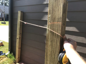 use a line level to mark the upright treated 4x4 posts