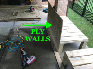 Treated plywood is used to create the planter box walls