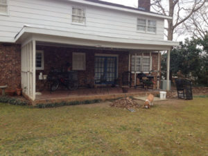 overspanned porch roof without enough posts