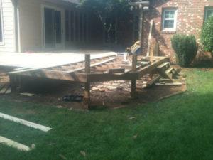 partially built exterior porch deck