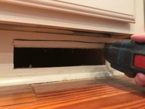 cut baseboard with multi-oscillating tool