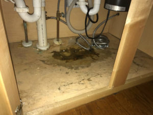 damaged cabinet floor caused by water dripping from sink plumbing