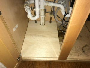 partial new plywood floor for sink cabinet wood rot repair