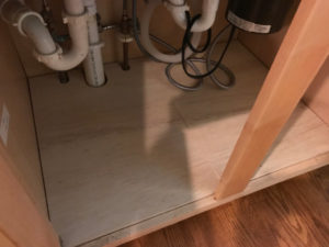 new unfinished plywood cabinet floor