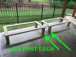 4x4 post legs and 2x4 rails create the planter box platform