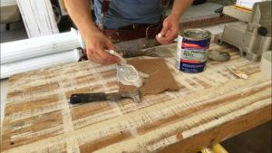 squeeze bondo hardener onto unmixed bondo for wood repair