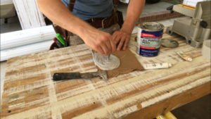 mix bondo putty and hardener together