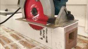 Set the circular saw blade depth to cut the new wood porch column