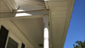 new wood porch column in place