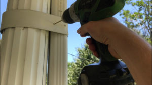 drill through rivet hole with a drill bit and electric drill