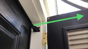 Line up door closer jamb bracket with top door rail