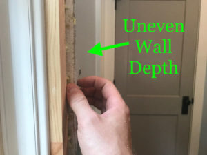 Uneven depth between drywall surface and jamb edge