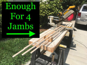 Make enough jamb furring strips for all four jamb edges