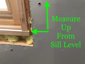 Measure up to reveal marks from sill / stool level