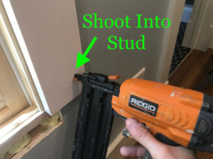 "Shoot through the casing into framing using 2"" brad nails."