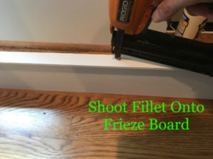 Shoot fillet strip to underside of frieze board