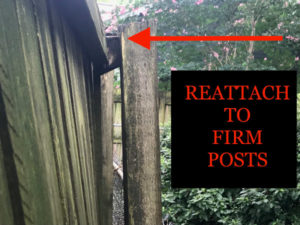 Reattach loose rails to firmly anchored fence posts