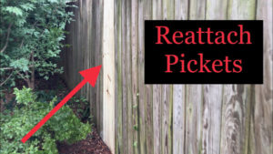 Reattach pickets to upright, repaired fence