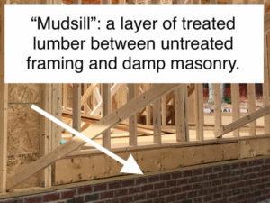 framing mud sill explanation treated untreated masonry