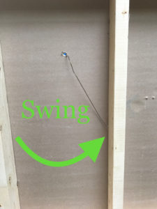 swing wire in wall for stud test