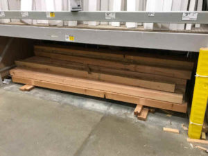cedar wood posts in lumberyard