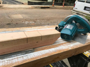 perimeter crosslap cuts in cedar with circular saw