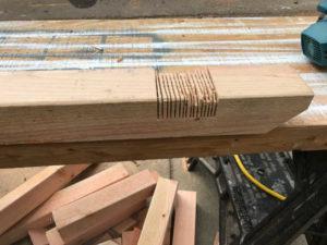 crosslap fillets still standing up in cedar wood