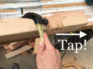 tap wooden fillets in crosslap with hammer to break